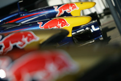 The nose cones of the Red Bull Racing and Torro Rosso cars
