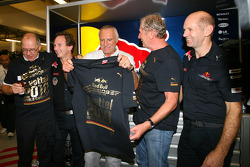 Christian Horner, Red Bull Racing, Sporting Director with Dietrich Mateschitz, Owner of Red Bull, Helmut Marko, Red Bull Racing, Red Bull Advisor and Adrian Newey, Red Bull Racing, Technical Operations Director
