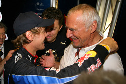 Sebastian Vettel, Red Bull Racing and Dietrich Mateschitz, Owner of Red Bull
