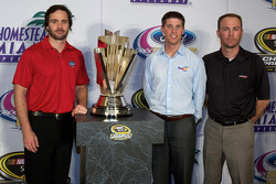 Championship contenders pre-race press conference: Jimmie Johnson, Hendrick Motorsports Chevrolet, Denny Hamlin, Joe Gibbs Racing Toyota and Kevin Harvick, Richard Childress Racing Chevrolet with the Sprint Cup