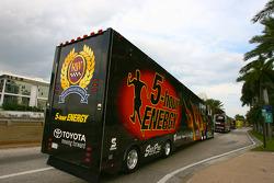NASCAR haulers enter Miami Beach