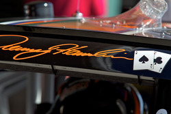 Playing cards on the car of Denny Hamlin, Joe Gibbs Racing Toyota