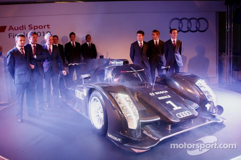 The 2011 Audi R18 TDI with the Audi work drivers: Tom Kristensen, Rinaldo Capello, Allan McNish, André Lotterer, Marcel Fässler, Benoit Tréluyer, Mike Rockenfeller, Timo Bernhard and Romain Dumas