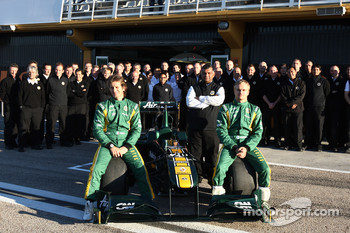 Team Lotus - Jarno Trulli, Tony Fernandes and Heikki Kovalianen