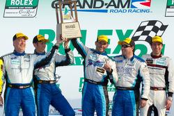 GT podium: class winners #67 TRG Porsche GT3: Steven Bertheau, Brendan Gaughan, Wolf Henzler, Andy Lally and Spencer Pumpelly