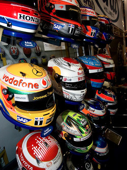 F1 Helmets on the F1 Stand