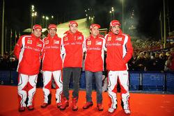 Giancarlo Fisichella, Marc Gene, test driver Scuderia Ferrari, Jules Bianchi, test driver Scuderia Ferrari, Felipe Massa, Scuderia Ferrari and Fernando Alonso, Scuderia Ferrari