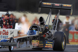 Troy Buff aboard his BME/Okuma Top Fuel Dragster