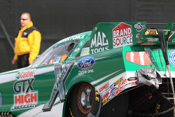 John Force in the traps aboard his Castrol GTX High Mileage Ford Mustang awaiting a push vehicle to remove him from the track