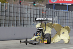 Spenser Massey deploys the parachutes on his Fram / Prestone Top Fuel Dragster