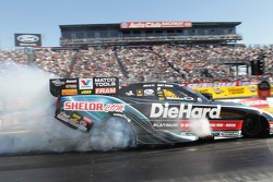 Matt Hagan doing a burnout in his Sears DieHard Dodge Charger Funny Car