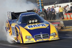 Ron Capps during his burnout in his NAPA Auto Parts Dodge Charger