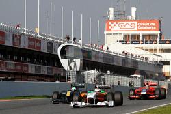 Adrian Sutil, Force India, Heikki Kovalainen, Team Lotus y Jerome d'Ambrosio, Virgin Racing