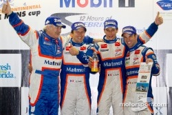Class winners podium: P1 and overall winners Nicolas Lapierre, Loic Duval and Olivier Panis celebrate with Hugues de Chaunac