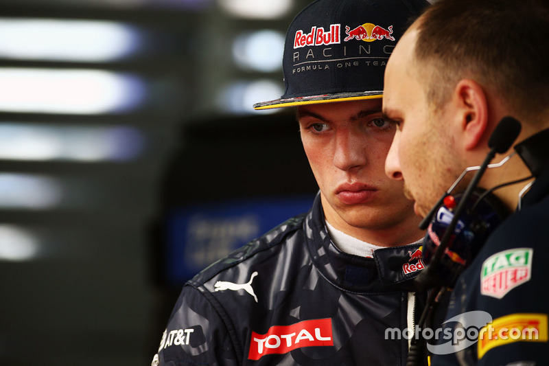 Max Verstappen, Red Bull Racing con Gianpiero Lambiase, ingegnere Red Bull Racing