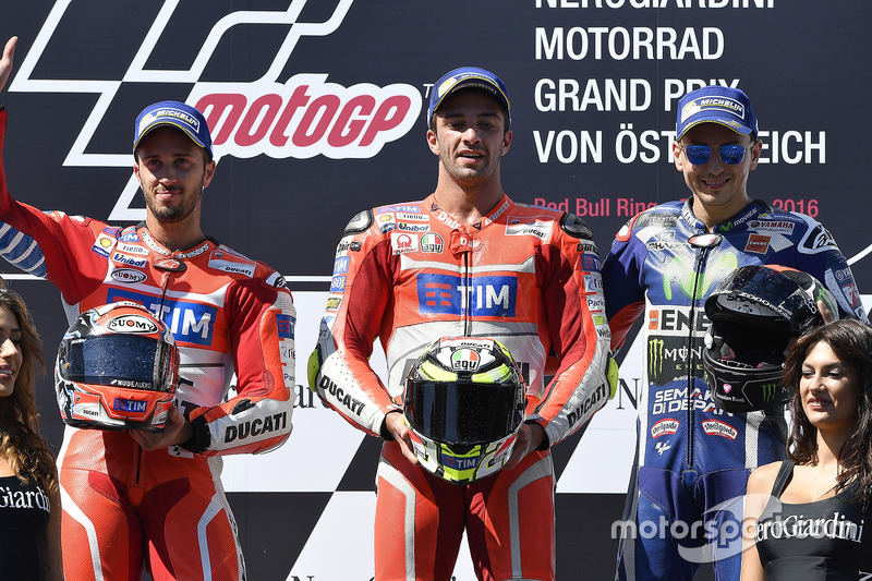 Podium: second place Andrea Dovizioso, Ducati Team, race winner Andrea Iannone, Ducati Team, third place Jorge Lorenzo, Yamaha Factory Racing