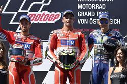Podium : le deuxième Andrea Dovizioso, Ducati Team, le vainqueur Andrea Iannone, Ducati Team, et le troisième Jorge Lorenzo, Yamaha Factory Racing