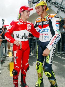 Carlos Checa, Marlboro Yamaha Team und Valentino Rossi, Repsol Honda Team