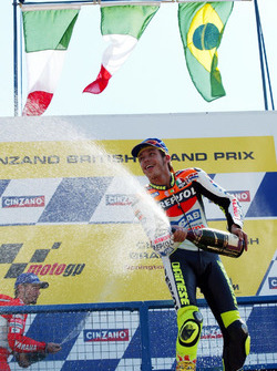 Podium: Sieger Valentino Rossi, Honda Team