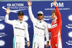 Qualifying top three in parc ferme (L to R): second place Nico Rosberg, Mercedes AMG F1; Pole Position Lewis Hamilton, Mercedes AMG F1; third place Sebastian Vettel, Ferrari
