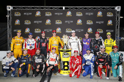 The Chase for the Sprint Cup field of drivers: Brad Keselowski, Team Penske Ford, Tony Stewart, Stewart-Haas Racing, Kurt Busch, Stewart-Haas Racing Chevrolet, Joey Logano, Team Penske Ford, Denny Hamlin, Joe Gibbs Racing Toyota, Carl Edwards, Joe Gibbs Racing Toyota, Kevin Harvick, Stewart-Haas Racing Chevrolet, Matt Kenseth, Joe Gibbs Racing Toyota, Chris Buescher, Front Row Motorsports Ford, Martin Truex Jr., Furniture Row Racing Toyota, Chase Elliott, Hendrick Motorsports Chevrolet, Kyle Larson, Chip Ganassi Racing Chevrolet, Jimmie Johnson, Hendrick Motorsports Chevrolet, Austin Dillon, Richard Childress Racing Chevrolet, Jamie McMurray, Chip Ganassi Racing Chevrolet
