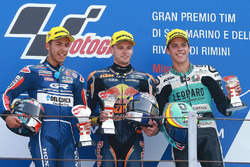 Podium: second place Enea Bastianini, Gresini Racing Team Moto3, race winner Brad Binder, Red Bull KTM Ajo, third place Joan Mir, Leopard Racing