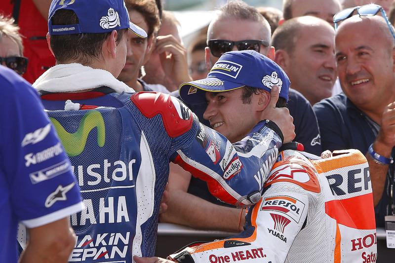 Il vincitore della gara Dani Pedrosa, Repsol Honda Team, il terzo classificato Jorge Lorenzo, Yamaha Factory Racing