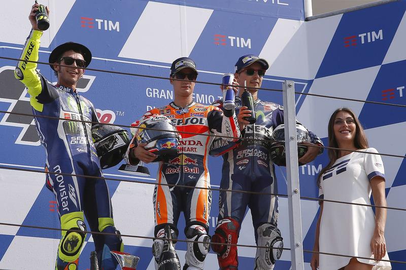 2016: 1. Dani Pedrosa, 2. Valentino Rossi, 3. Jorge Lorenzo