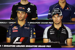 (L to R): Daniel Ricciardo, Red Bull Racing with Sergio Perez, Sahara Force India F1 in the FIA Press Conference