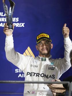 Lewis Hamilton, Mercedes AMG F1 on the podium