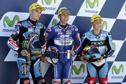 Polesitter Enea Bastianini, Gresini Racing, tweede plaats Jorge Navarro, Estrella Galicia 0,0, derde plaats Livio Loi, RW Racing GP BV