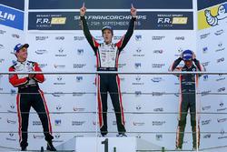 Podio: il vincitore della gara Hugo De Sadeleer, Tech 1 Racing, il secondo classificato Dorian Boccolacci, Tech 1 Racing, il terzo classificato Lando Norris, Josef Kaufmann Racing