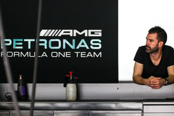 Marc Hynes, in the Mercedes AMG F1 pit garage