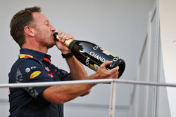 Christian Horner, Red Bull Racing Team Principal celebrates on the podium