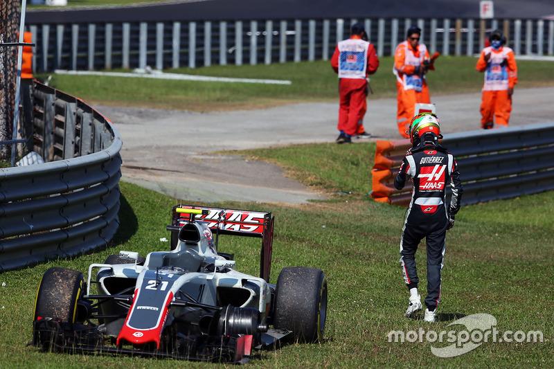 Esteban Gutiérrez, Haas F1 Team VF-16 se retira de la carrera