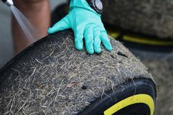 Зношені шини Pirelli, вкриті травою