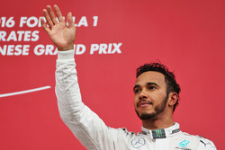 Lewis Hamilton, Mercedes AMG F1 celebrates his third position on the podium