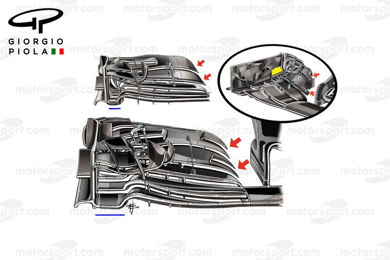 McLaren MP4/31 nieuwe voorvleugel vs oudere modellen, Japan