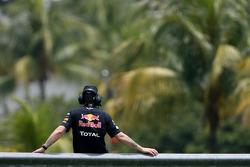 Red Bull Racing mechanic on track