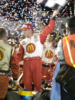 Victory lane: race winner Sébastien Bourdais celebrates