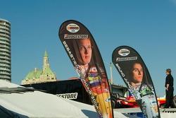 Banners for Newman/Haas drivers Sebatian Bordais and Bruno Junqueira