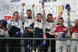 LMP1 podium: class and overall winners Alexander Wurz, Marc Gene and Anthony Davidson