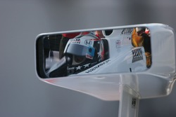Sam Hornish Jr.'s reflection in his mirror