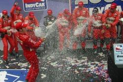 2006 IndyCar series champion Sam Hornish Jr. celebrates