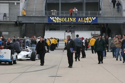 Gasoline Alley is a flurry of activity after the rain delay