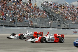 Helio Castroneves and Sam Hornish Jr. lead the field on pace laps