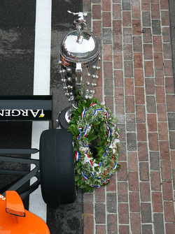 The Borg-Warner trophy on the yard of bricks