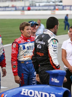 Marco Andretti visits with Dario Franchitti