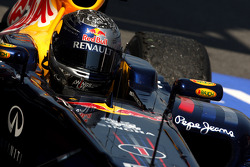 Sebastian Vettel, Red Bull Racing, celebrates victory in parc ferme