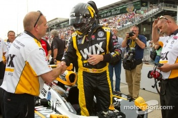 Paul Tracy, Dreyer & Reinbold Racing celebrates qualifying for the race